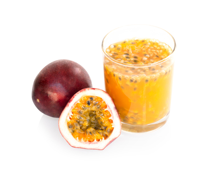 Glass of passion fruit juice isolated on white background, food healthy concept