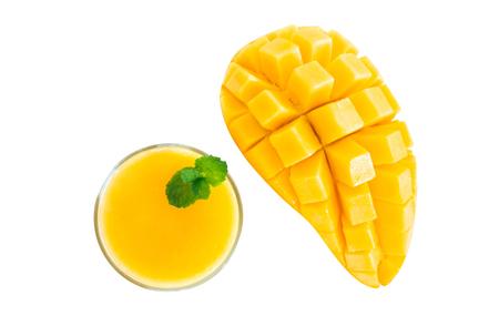 Closeup ripe mango tropical fruit with slice isolated on white background