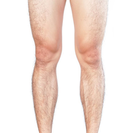 Closeup legs men skin and hairy for health care concept Banque d'images