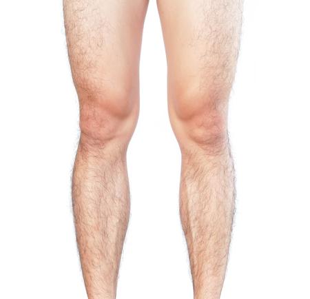 Closeup piernas hombres piel y peludos por concepto de cuidado de la salud
