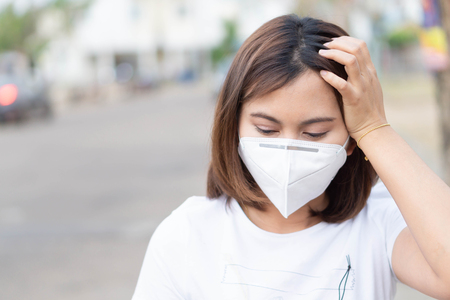 Closeup woman wearing face mask for protect air polution, health care and medical concept