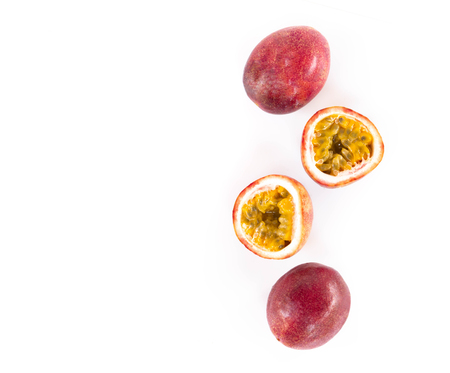 Closeup top view passion fruit with seed and haft on white background, fruit for healthy concept