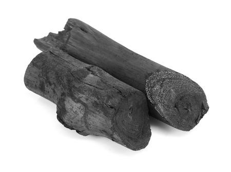 Carbone nero naturale isolato su sfondo bianco Archivio Fotografico