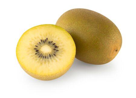 Fresh gold kiwi fruit isolated on white background, health care concept
