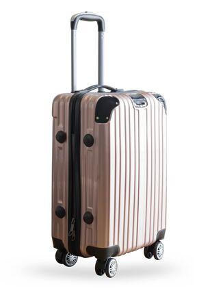 Pink traveler suitcase isolated on white background