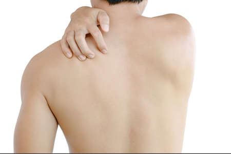 Closeup man hand itching on shoulder and back, healthy care and medical concept