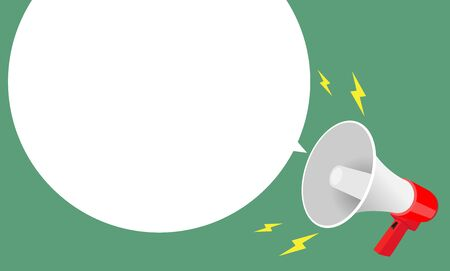 megaphone and white speech bubble for advertising message, Vector illustration