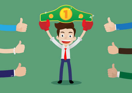 People like and give a thumbs up to businessman in boxing gloves holding championship belt, Cartoon vector illustration