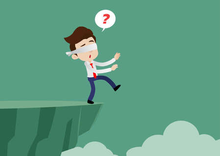 Blindfolded businessman is walking towards a cliff, Cartoon vector illustration