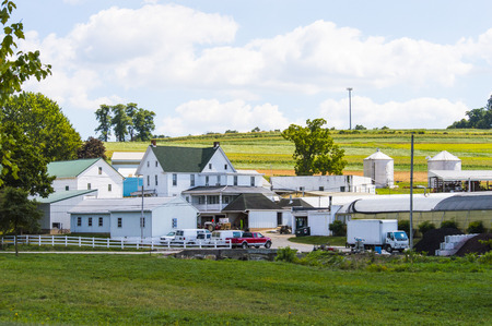 Working farm house in the rolling hills of Pennsylvania