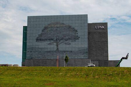 The new UPMC hospital mural under construction in York, Pennsylvainia