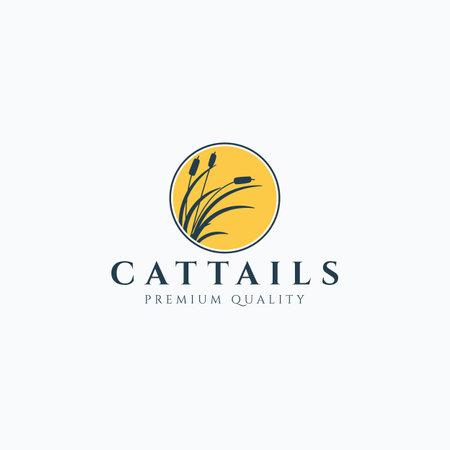 Vector illustration of cattails silhouette logo design