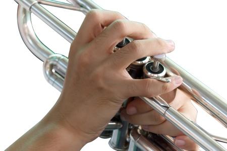 fingering: Trumpet fingering on white background