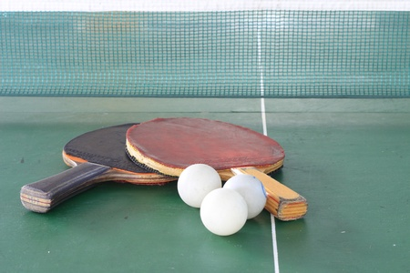 table tennis: Table tennis ball and net Stock Photo