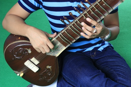 fingering: Fingering posture for play the sitar Stock Photo