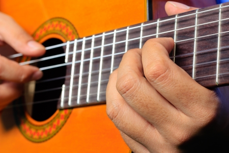 finger position on guitard Stock Photo - 14955747