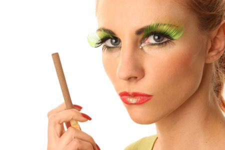 The woman with bright make-up and cigarette photo