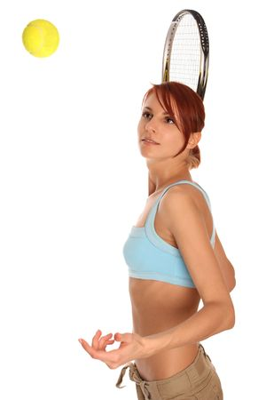 young girl holding tennis racket Stock Photo - 6498342