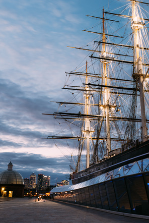 The restored Cutty Sark clipper ship in Greenwich, London on 20th of May 2017. Editorial
