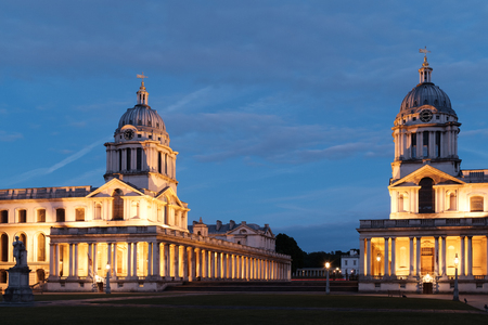 Beautifully lit Old Royal Naval College situated in Greenwich designed by Sir Christopher Wren. Photo is taken during late evening on 20th of May 2017. Editorial
