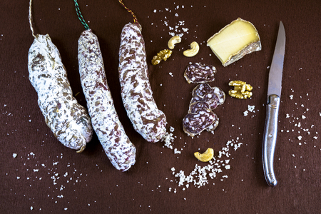 conviviality: Bistro appetizer with sausages, cheese and nuts