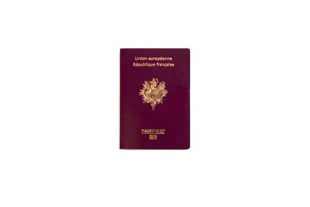 흰색 배경에 프랑스 여권