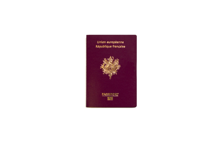 French passport on white background