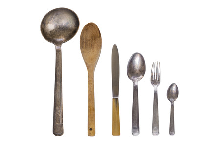 Vintage silver cutlery Foto de archivo