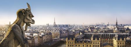 Panoramic view of Paris from Notre Dame de Paris Cathedral Stok Fotoğraf