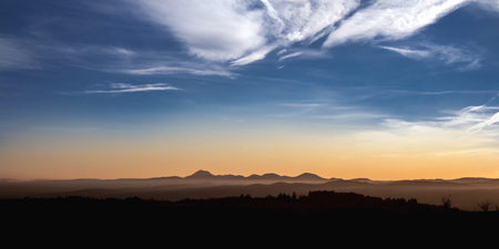 French volcanos at sunset