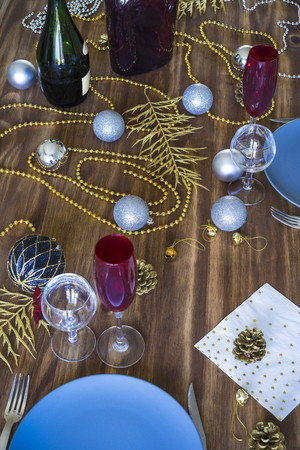 Christmas or Thanksgiving table setting Foto de archivo - 119609821