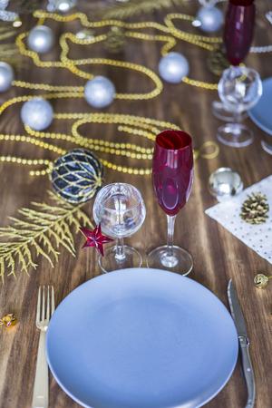 Christmas or Thanksgiving table setting Foto de archivo - 119609827