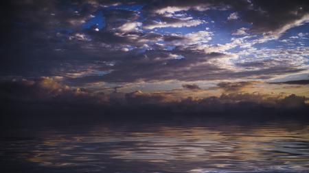 Dark dramatic sky over the sea