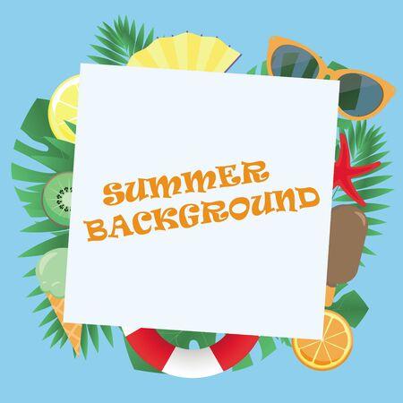 summer background with glasses, starfish, tropical leaves, lifebuoy, lemon, orange kiwi ice cream