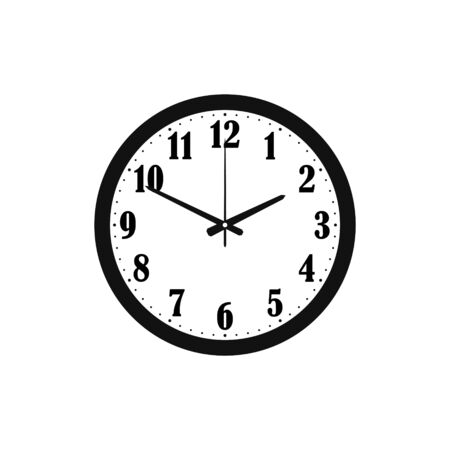 clock isolated on white background, silhouette, icon