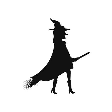 Silhouette einer Hexe auf einem Besen auf einer weißen Hintergrundvektorillustration