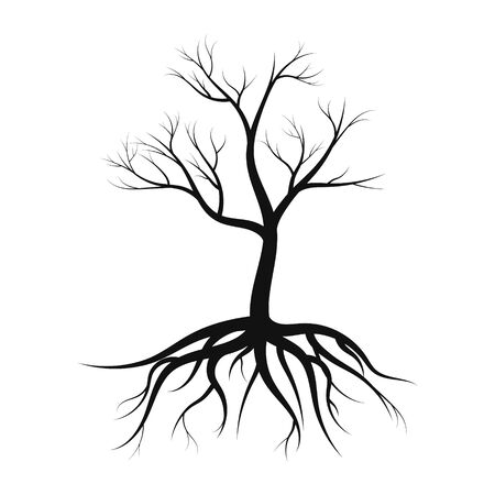 tree silhouette with roots, without leaves on white background vector illustration