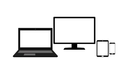 Set of laptop, computer monitor, tablet and mobile phone with blank screen isolated on white background vector illustration
