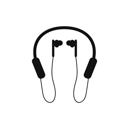 silhouette of  headphones with microphone on white background vector illustration
