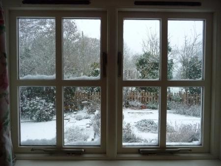 cottage: Nieve ventanas