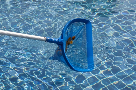 cleaning pool in sunny day light