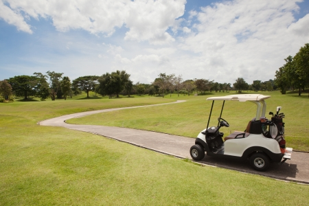 Golf Cart on the part in Golf Course, Thailand photo