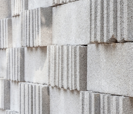 hollow walls: concrete construction blocks close up background texture Stock Photo