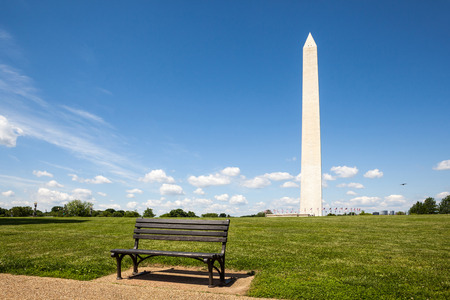 Bench in the Washington monument, National mall, Washington, DC, capital city of the USA. photo