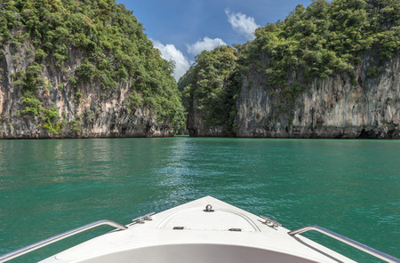 prow: Travel by boat to beautiful southern sea, Prow with the beautiful view of southern sea of Thailand