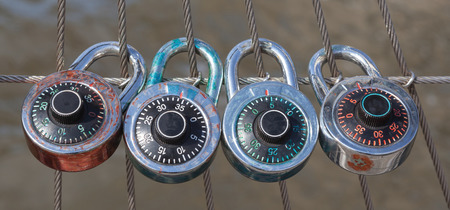 nylon: The 4 dial locks with code, Dial lock with nylon fence representing secure and relationship