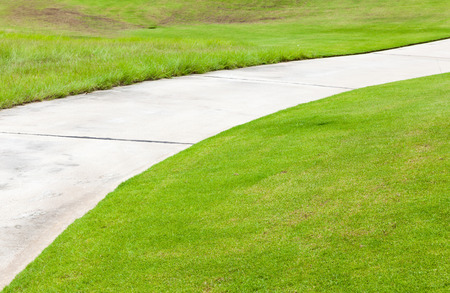sidewalks: Nice green and road path in golf course, sunny day