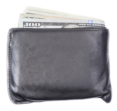 us money: Black leather wallet with US money banknotes on white background. Stock Photo