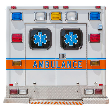 cross street with care: Back side of an ambulance car for emergency rescue.