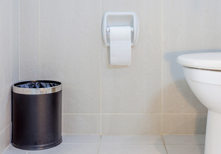 public toilet: Interior of toilet seat, paper and trashcan in hygiene restroom.
